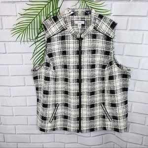 CJ Banks women's full zip check vest size 3X